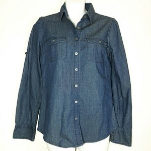 J. Crew Denim Button Down Sz 0